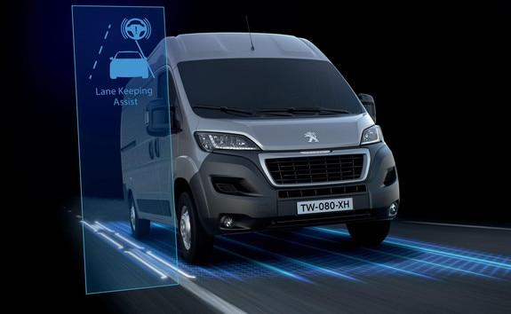 Peugeot Boxer : L'Alerte de Franchissement Involontaire de Ligne (AFIL) est un système détectant le franchissement involontaire d'un marquage longitudinal au sol. Une caméra analyse l'image puis déclenche une al